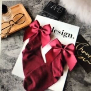 Accessories - Burgundy  cotton Socks with Satin Bows